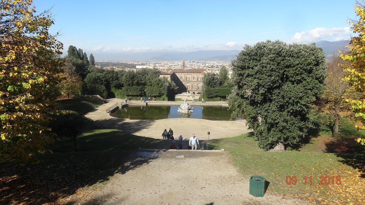 Looking across the Boboli Gardens with the Pitti Palace in the background.