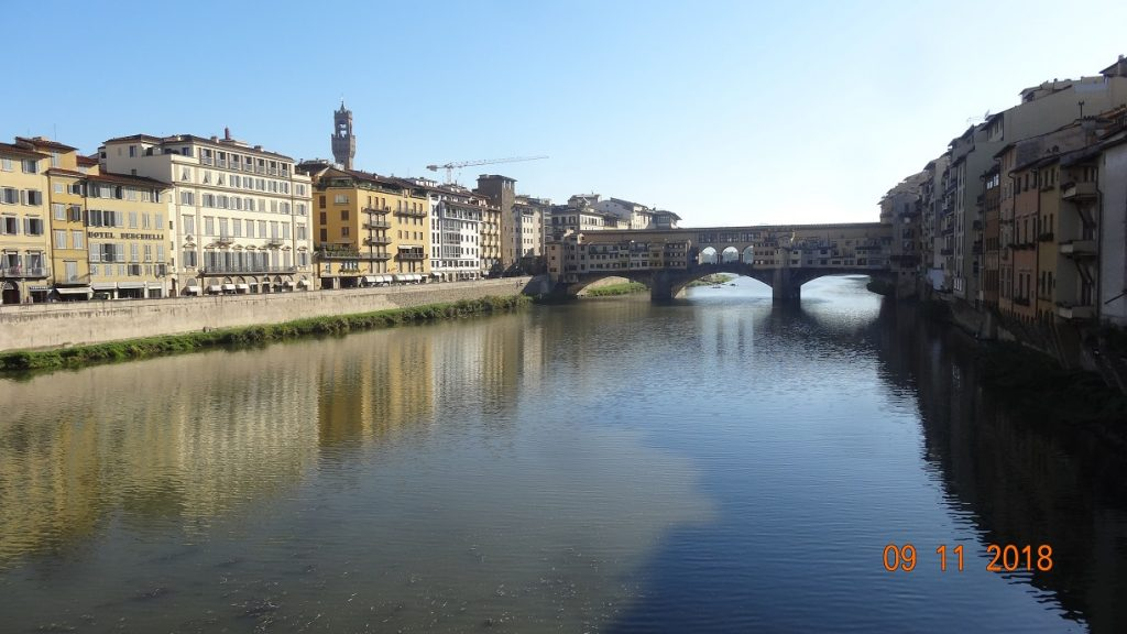 River Arno looking across to the Ponte Vecchio Florence
