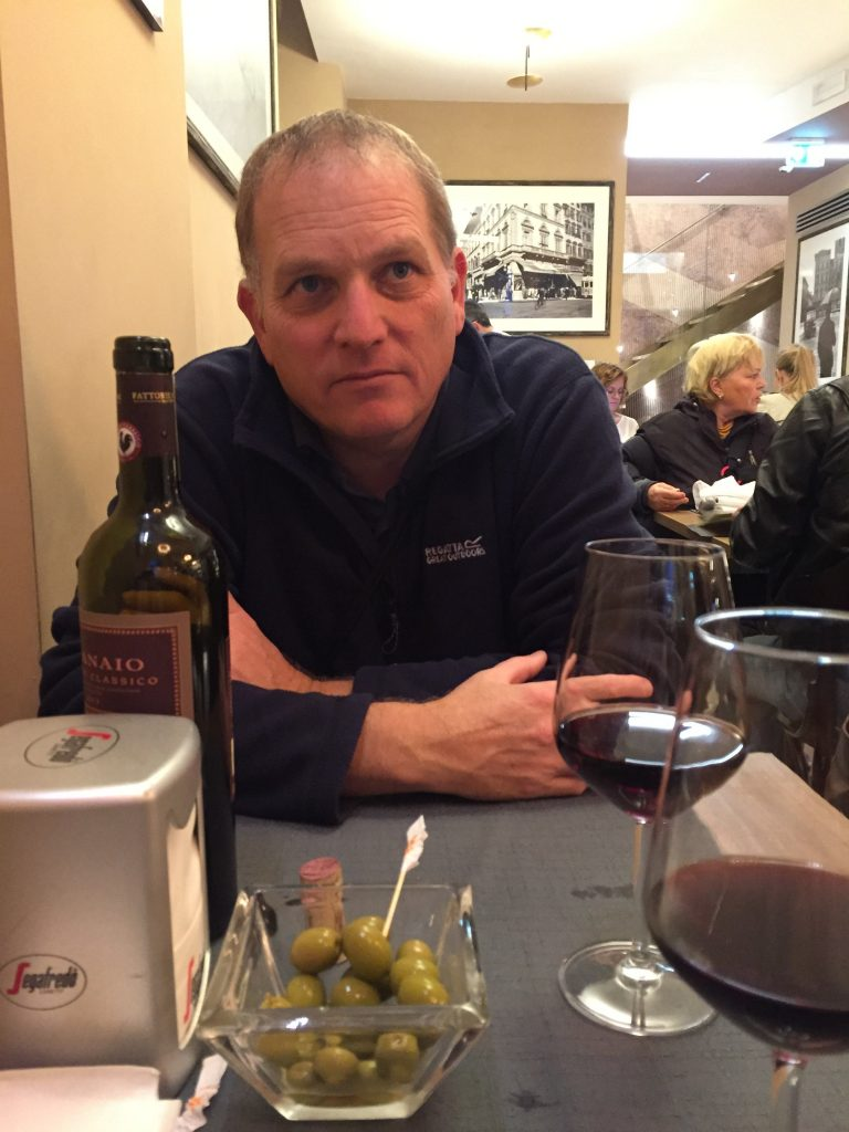 Paul enjoying dinner on our first night in Florence