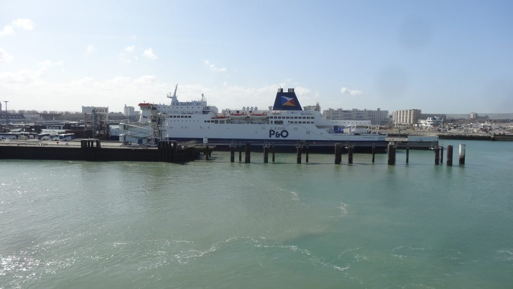 One of the P&O cross channel ferries waiting to depart at Calais