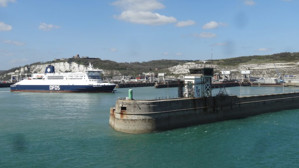 One of the DFDS cross channel ferries in Dover harbour