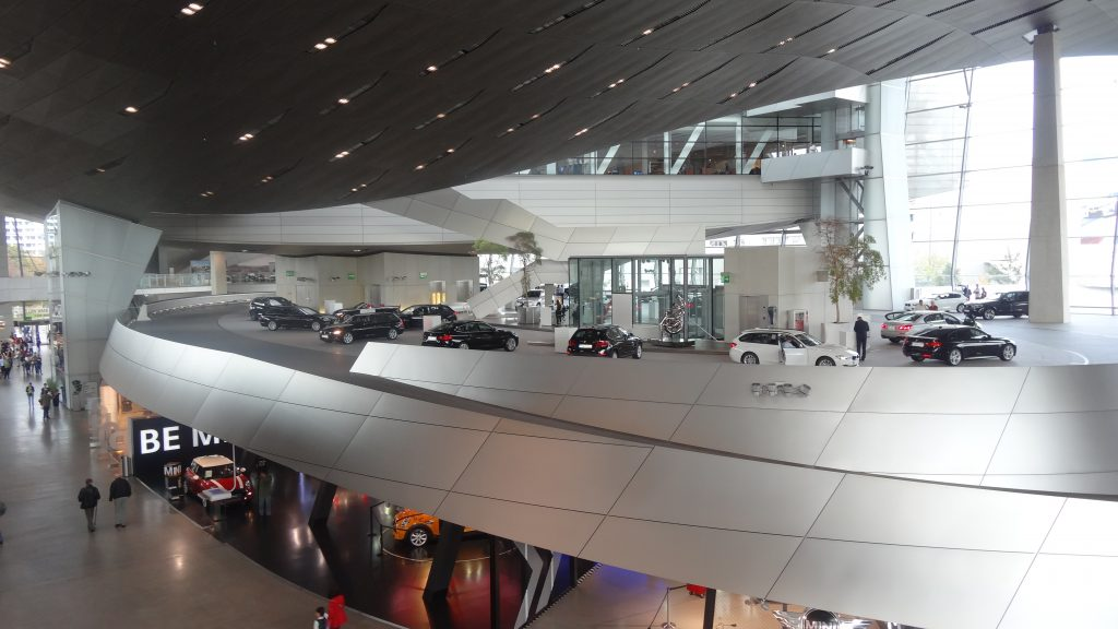 The futuristic BMW Welt displays a vast range of cars to view