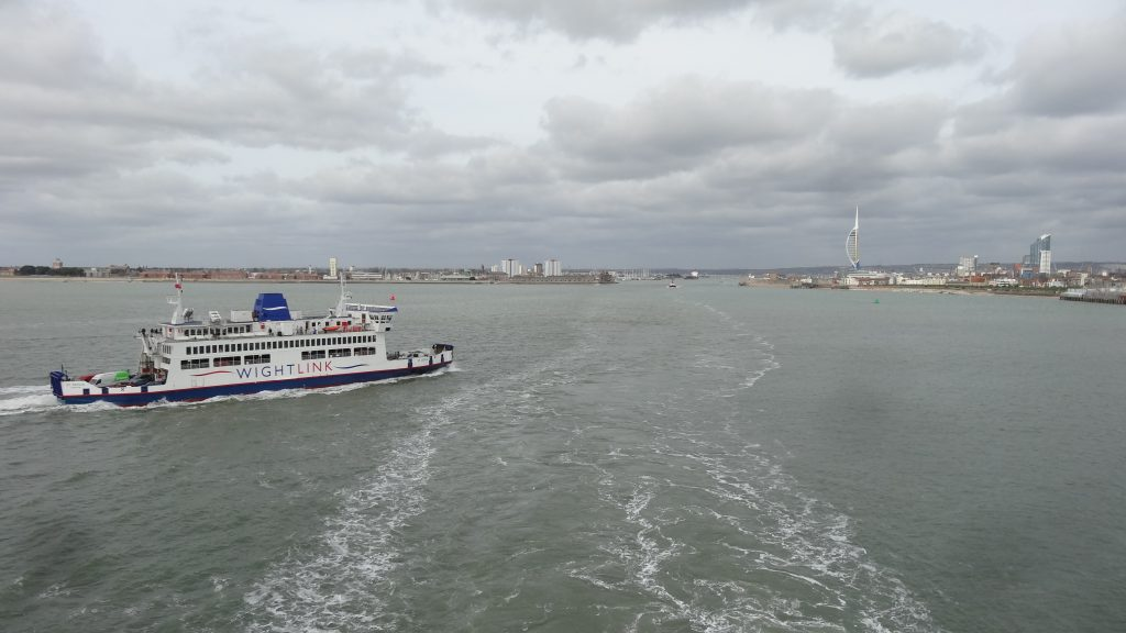 Passing the smaller Isle of Wight ferry on the way out of Portsmouth Harbour