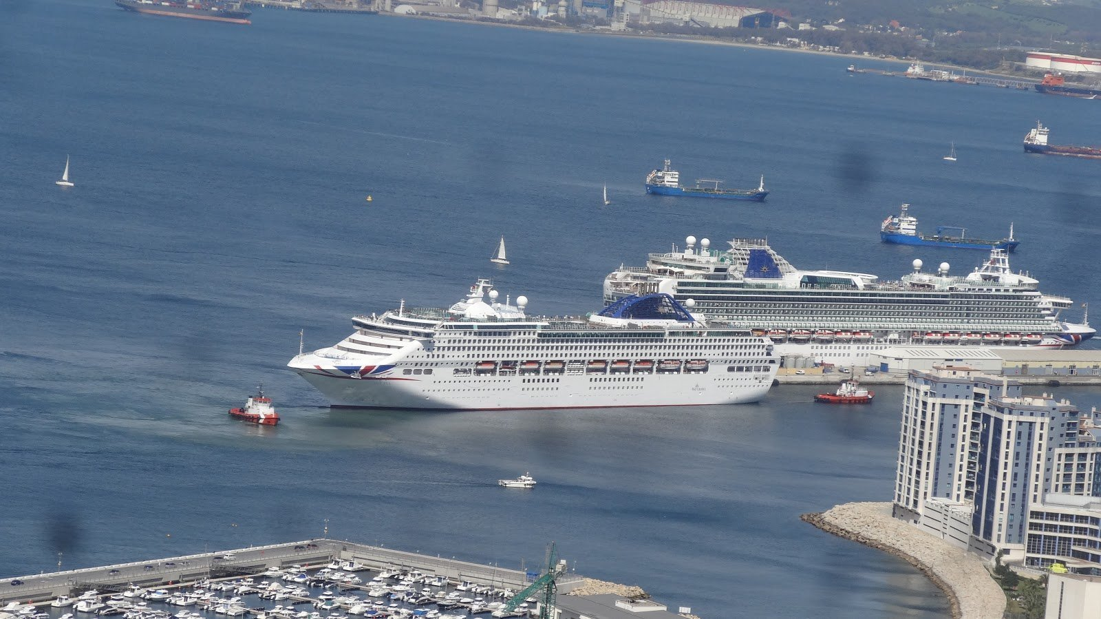 Cruise ships in port at Gibraltar