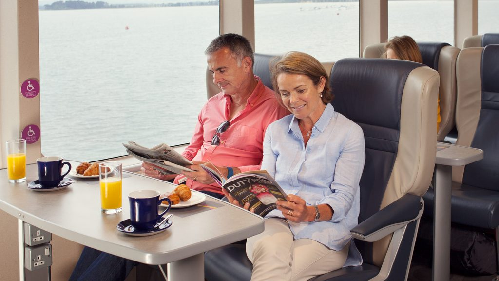 Take a break and relax. The club lounge on one of the Condor cross channel ferries.