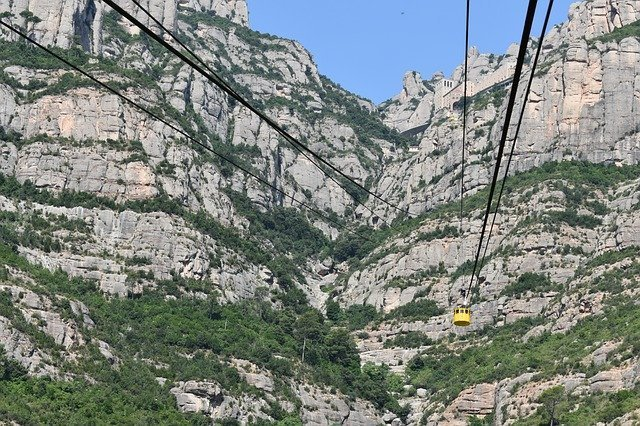 Take the cable car to the top of Montserrat Mountain