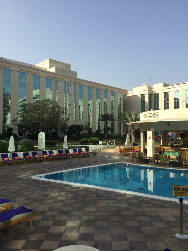 We Travel to India. We stayed at the Millennium Airport Hotel in Dubai on our way to India