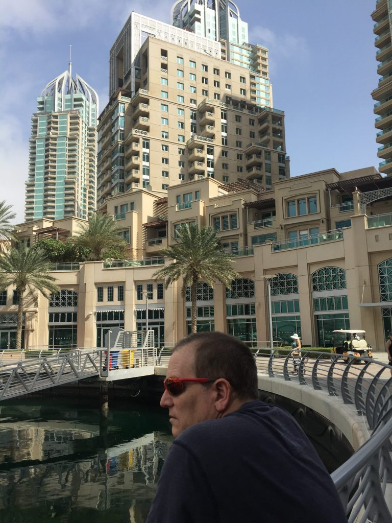 Paul viewing the boats at Dubai Marina