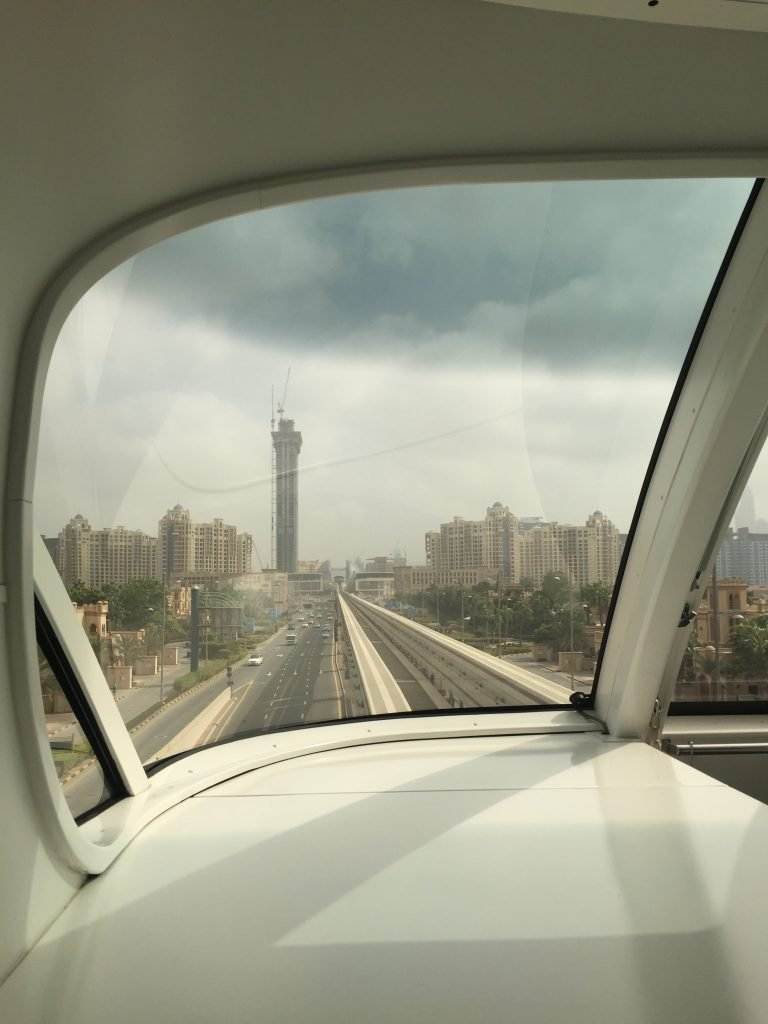 View from the monorail going on to The Palms in Dubai