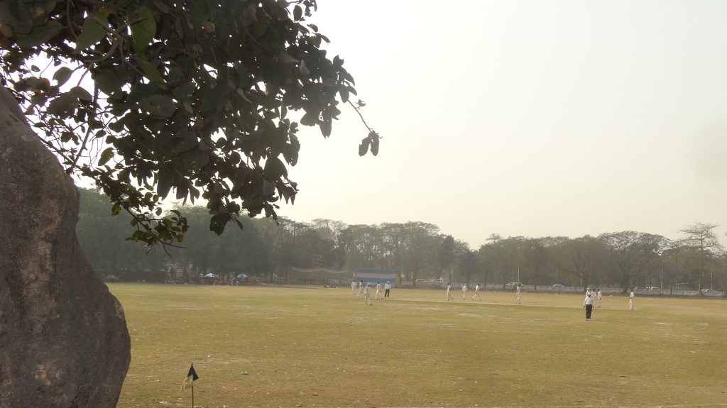 First stop on our Kolkata City Tour Cricket in the park in Kolkata