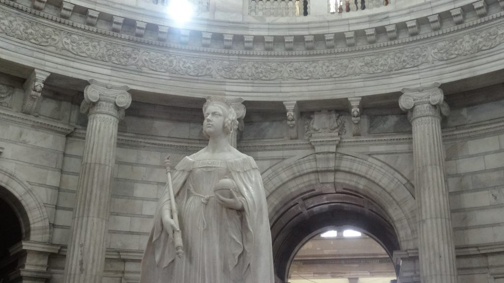 Statue of a young Queen Victoria in the Queens Hall Gallery at the Victoria Memorial Museum