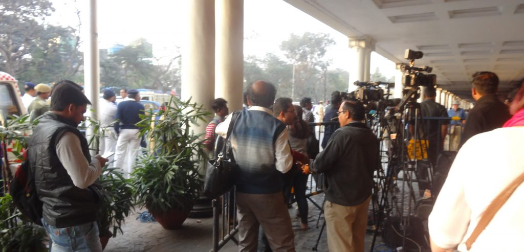 Indian Press outside the Oberoi Grand in Kolkata