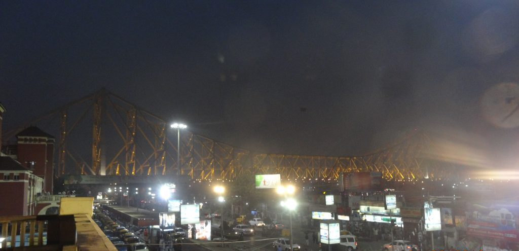 View of Howrah Bridge from the VIP waiting room in the station
