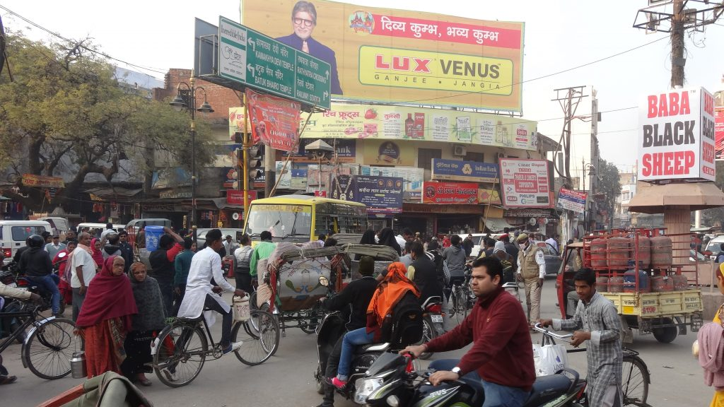 The Crowded Crossroads outside St Thomas Church in Varanasi