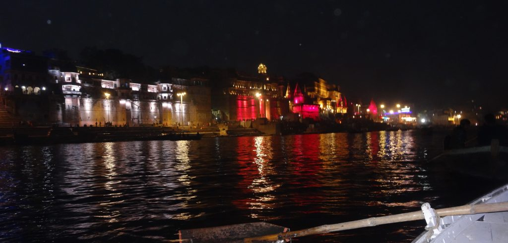 Night Scene of Varanasi from the River Ganges