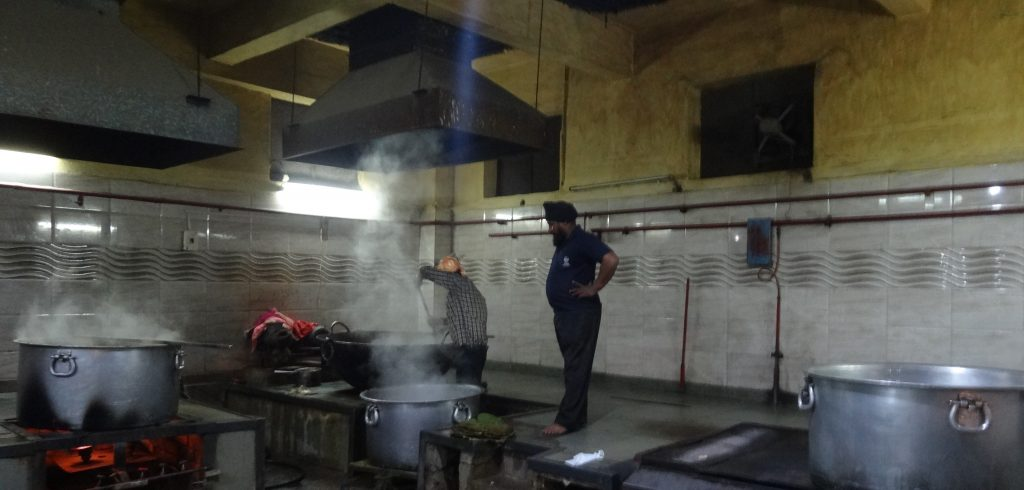 The kitchen at Gurudwara Sis Ganj Sahib Sikh Temple in Delhi