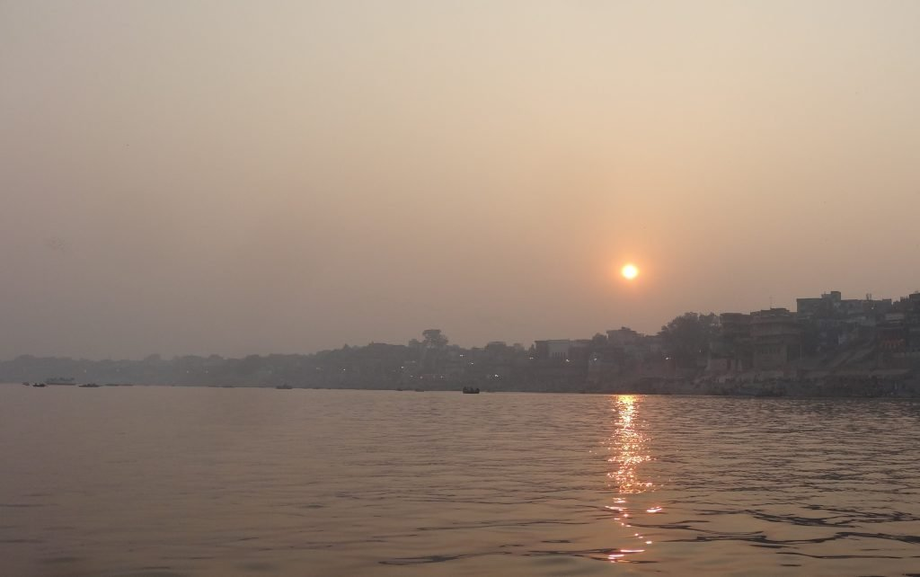 A perfect end to a day Sightseeing in Varanasi Sunset over the River Ganges