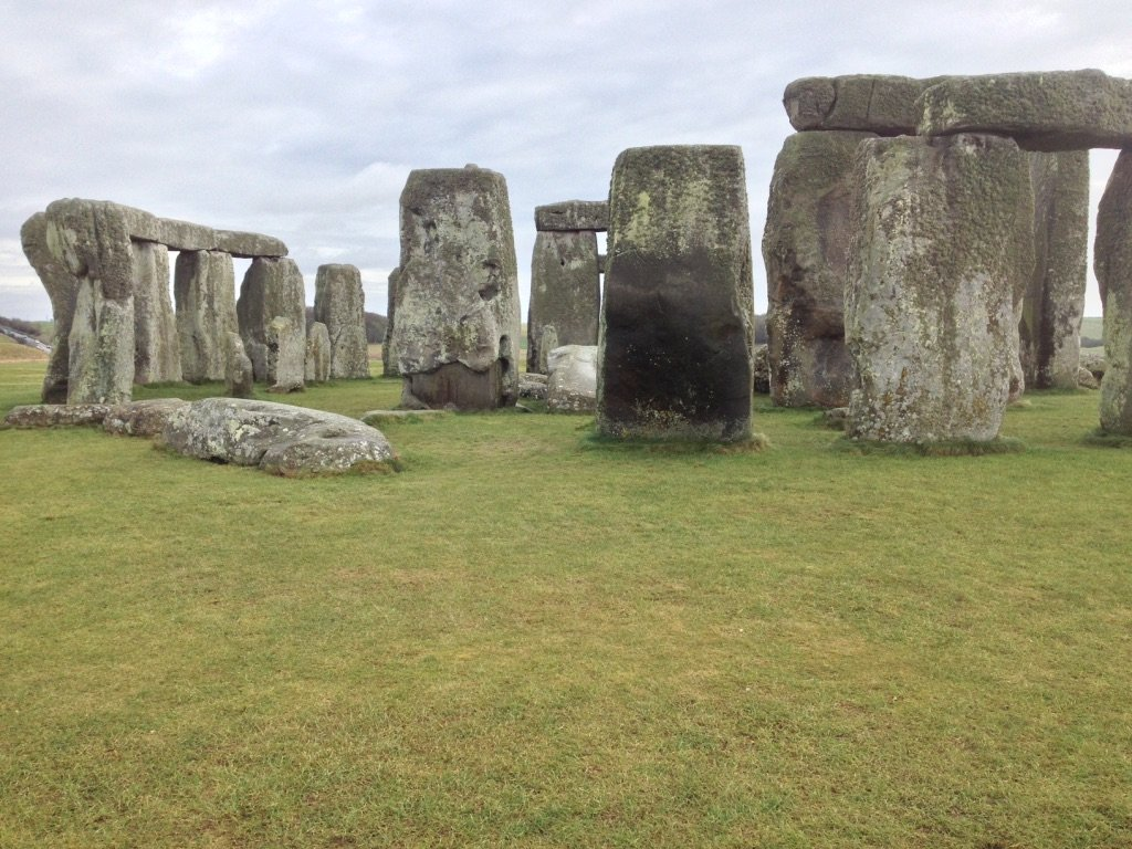 Close up view of the stones at Stonehenge