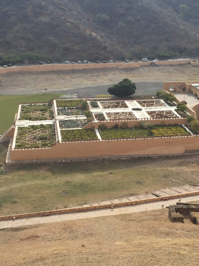 View of the gardens below the Amber Fort