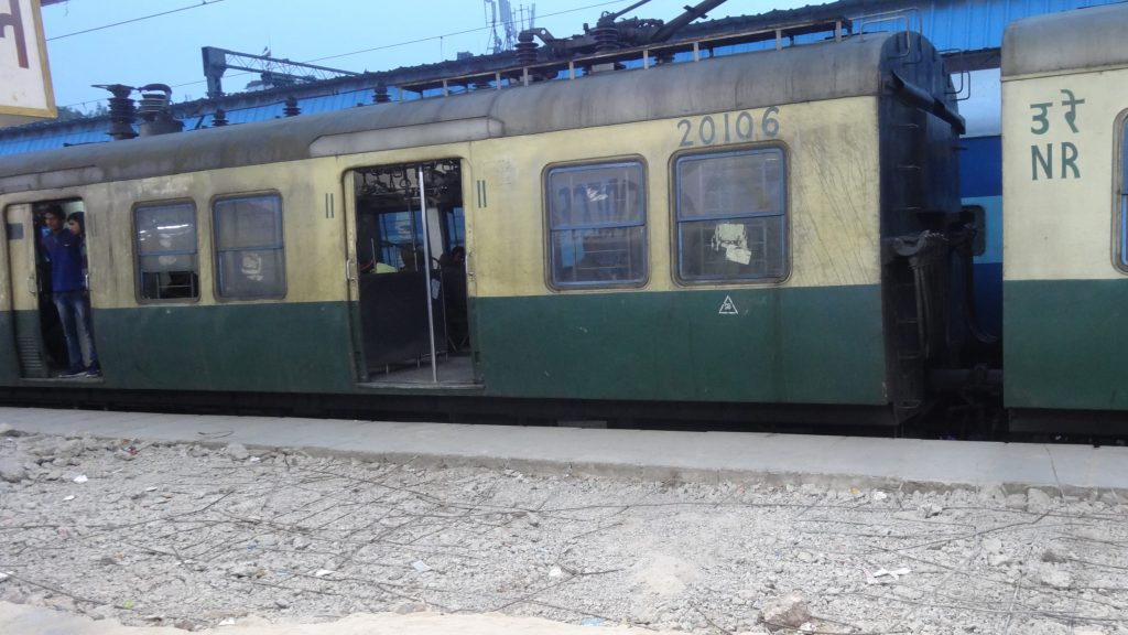 An Indian Railways Train at Hazrat Nizamuddin railway station