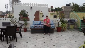 Roof Terrace at the Coral Court Homestay in Agra