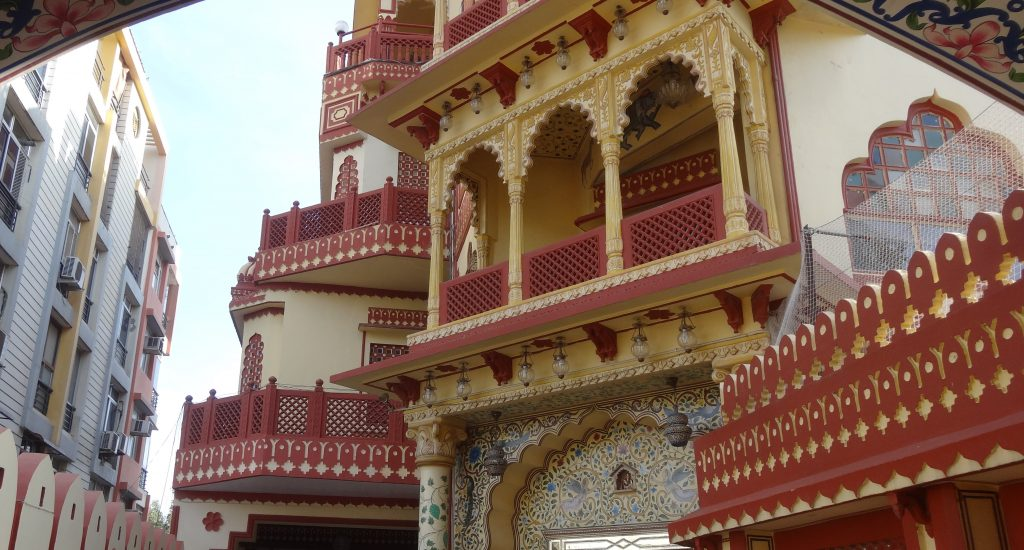 Ornate balconies at the Umaid Bhawan Hotel in Jaipur
