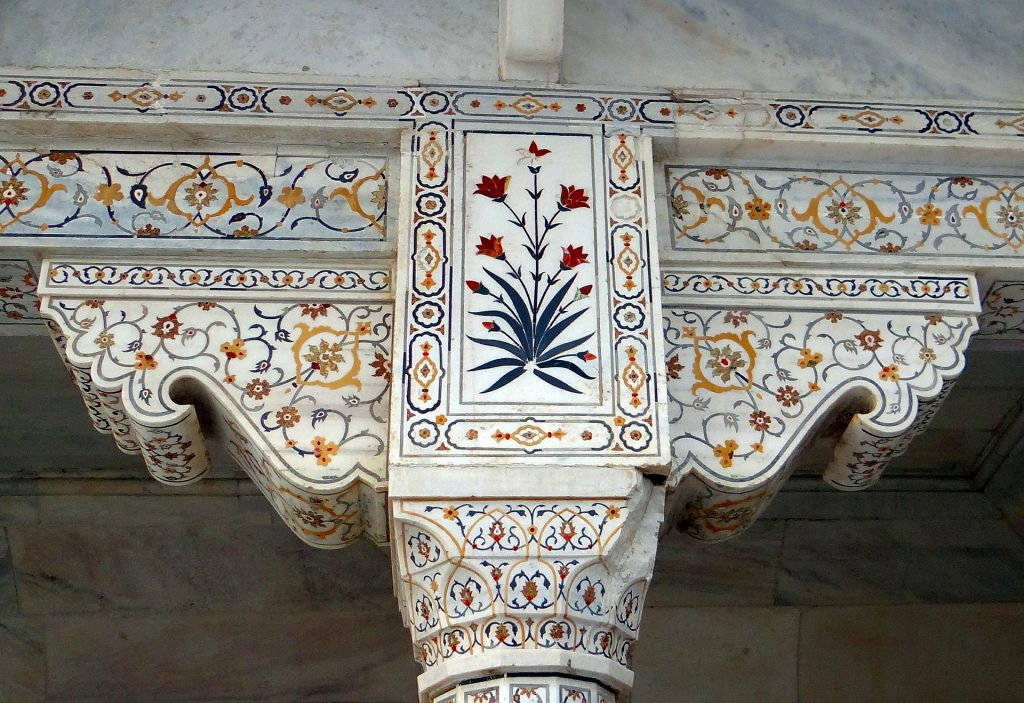Detail of the Mosaic on the Taj Mahal