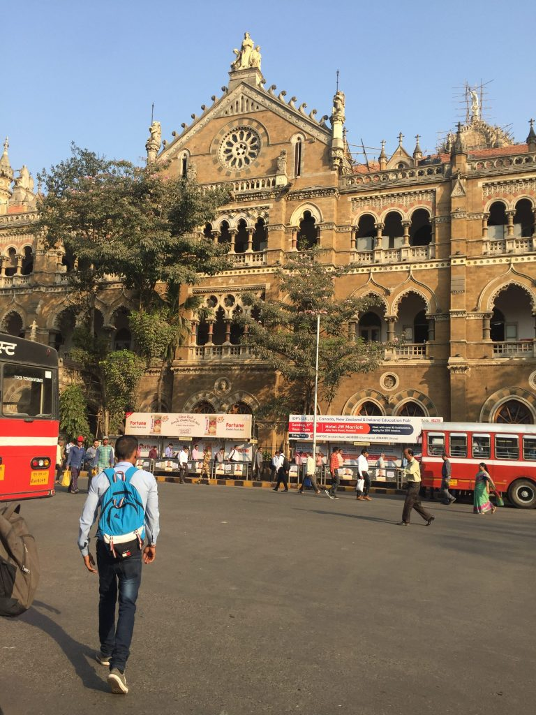Arriving at CST station on the bus