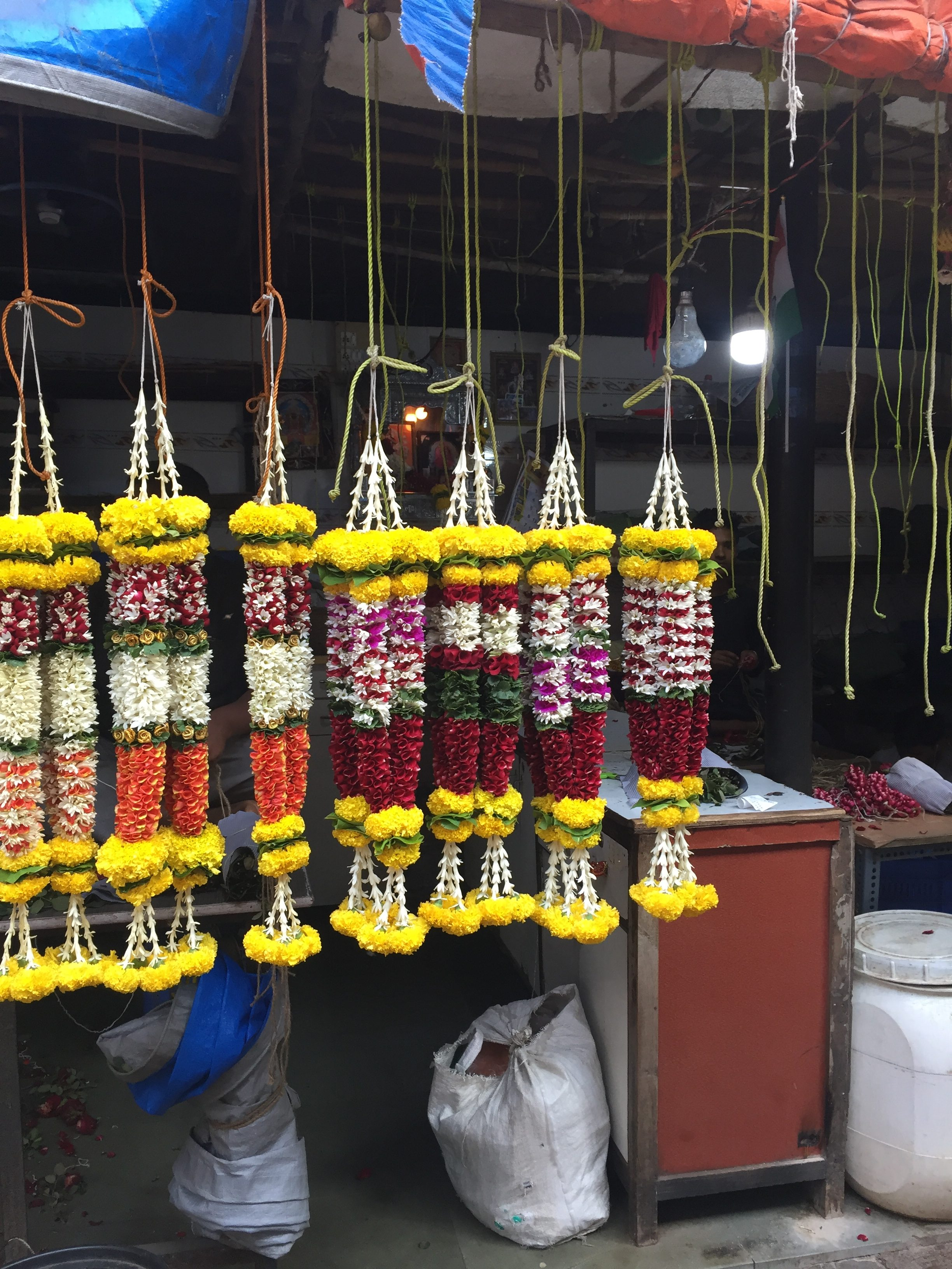 Flower Garlands at Mumbai Flower Market