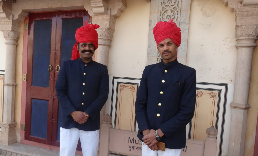 Palace Guards outside the Textile Gallery Jaipur Sightseeing Tour