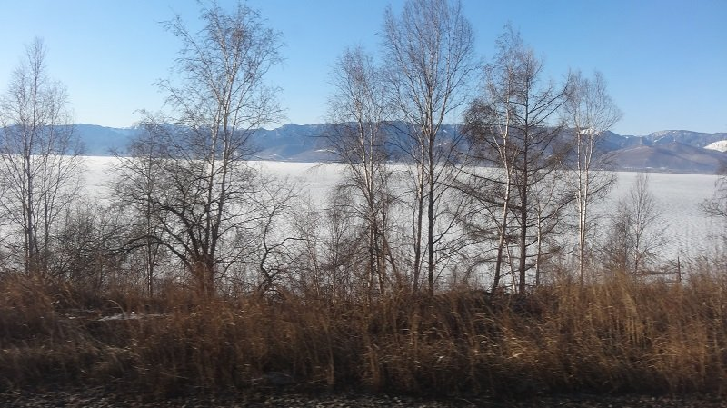 On the Moscow to Beijing Train A great view of ake Baikal