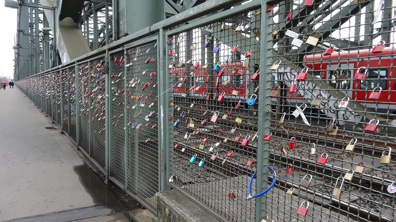 Love Locks on Hohenzollern Railway bridge in Cologne