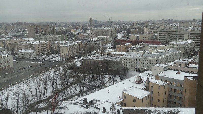View of the snow covered city from our hotel room in Moscow