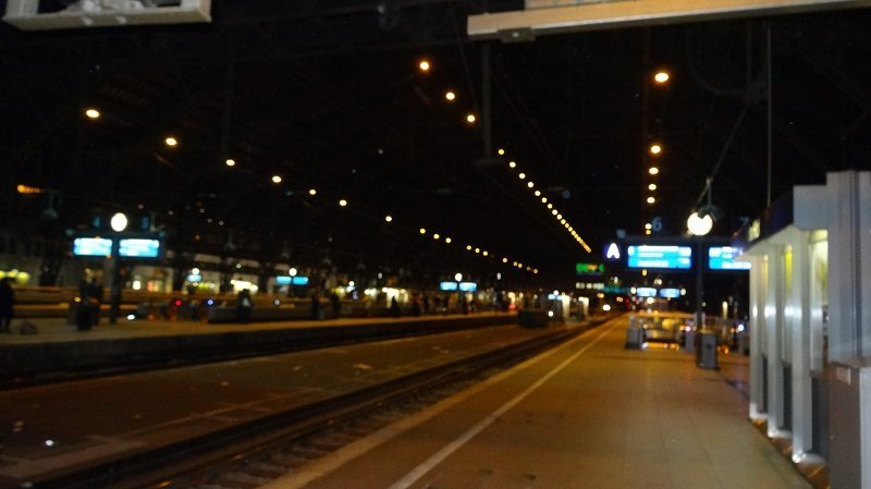 London to Moscow by Train Waiting in the dark at Cologne Station for the overnight train to Warsaw
