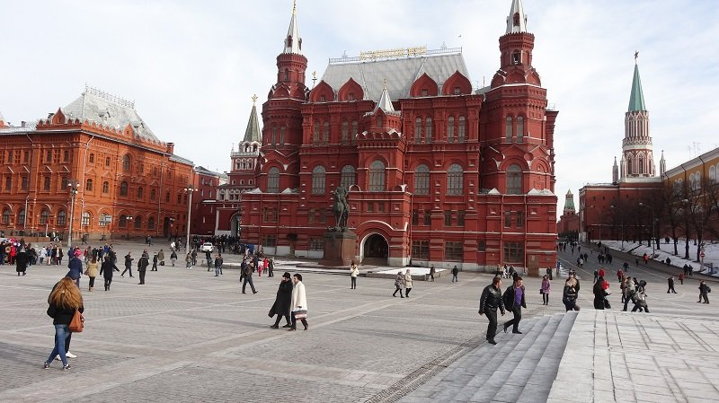 Near the entrance to Red Square in Moscow