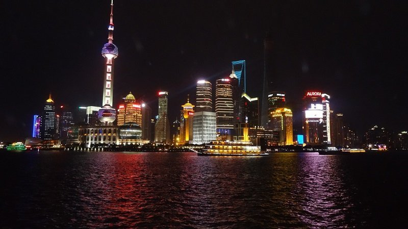 Travel Around the World The Shanghai Skyline at Night