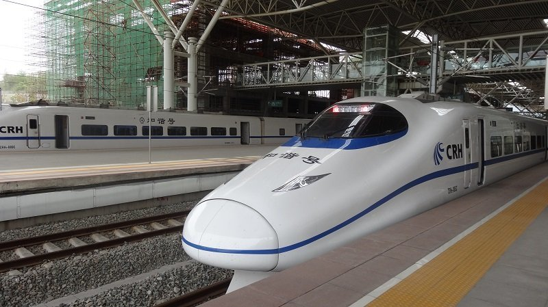 Chinese bullet train at Nanjing Station