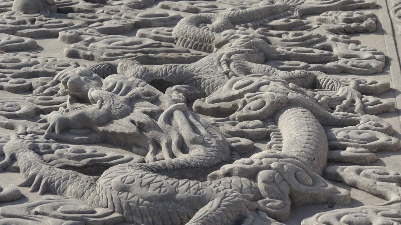 A close-up of some of the ornate stone carvings at the palace