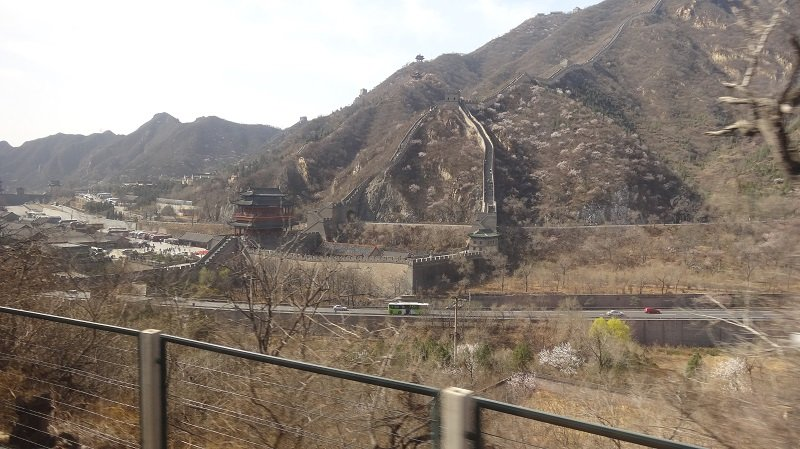 You get Super Views of the Great Wall of China on the train from Beijing