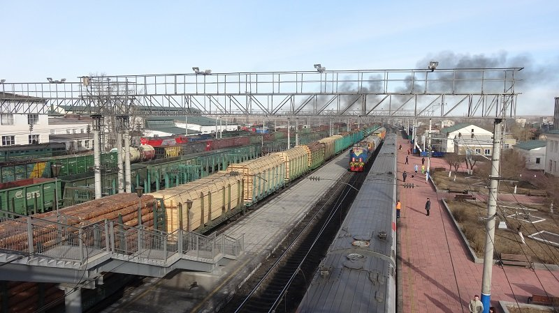 The Moscow to Beijing Train at Zabaikalsk Station on the Russian side of the Russian-Chinese Border