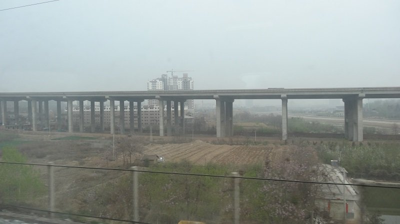 View of the Chinese Countryside from the Beijing to Xian Train
