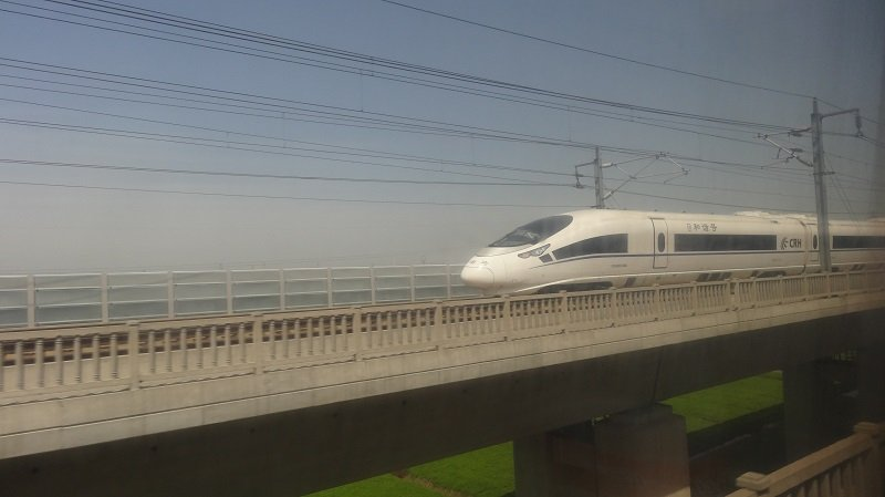 Passing another bullet train on the raised high-speed line between Nanjing and Shanghai
