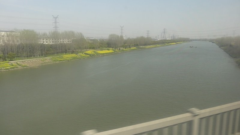Crossing the river on the bullet train from Nanjing to Shanghai