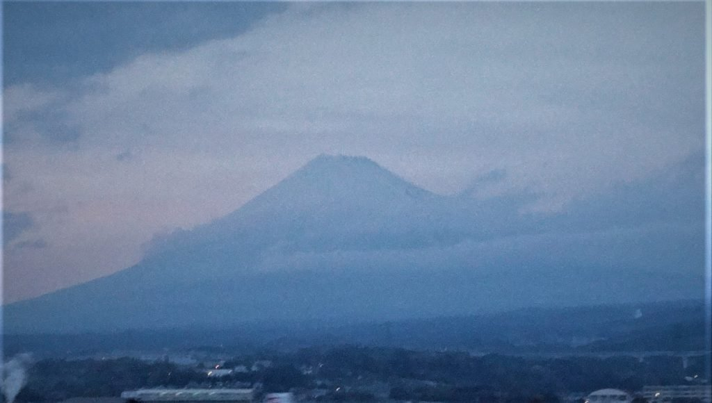 A glimpse of Mount Fuji from the Kyoto to Tokyo Train