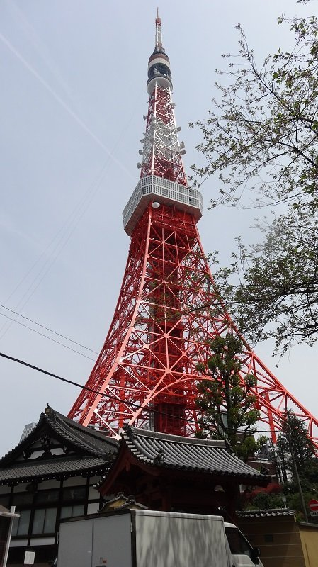 Looking up at the Tokyo Tower on our Tokyo Itinerary