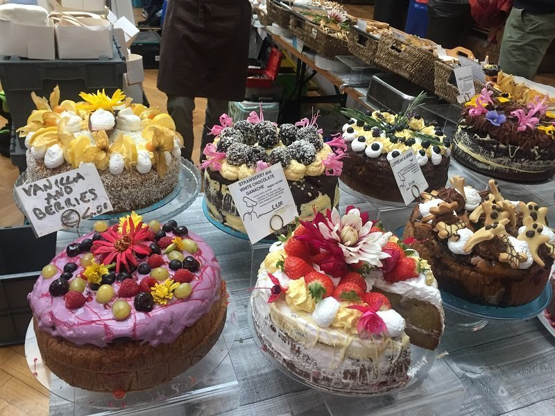 Fabulous cakes for sale at the vegan market in Cambridge