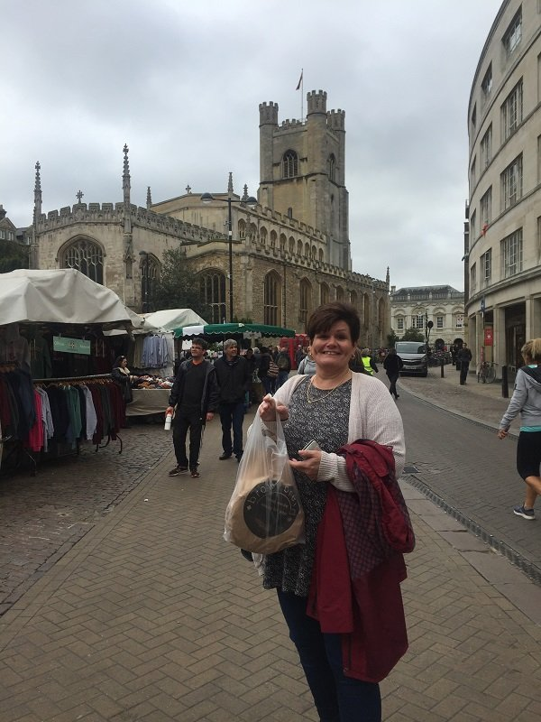 My sister who kindly accompanied me to Cambridge Vegan Market