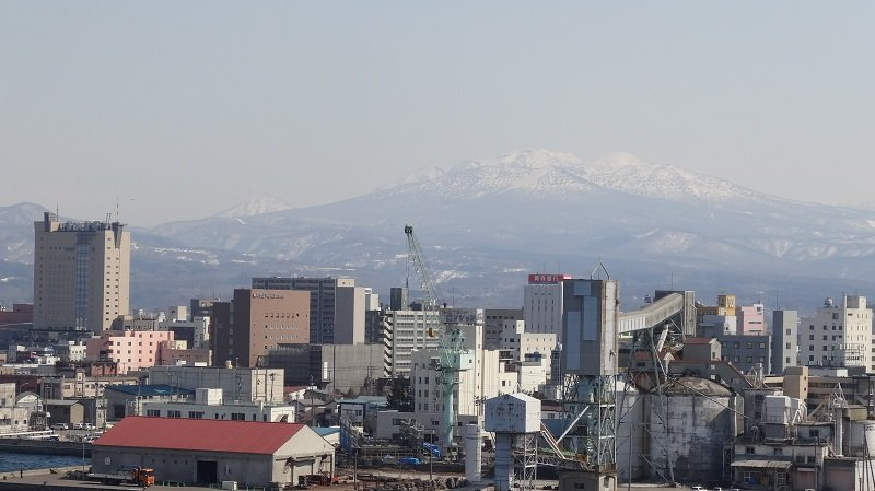 Mountains behind the city of Aomori Japan