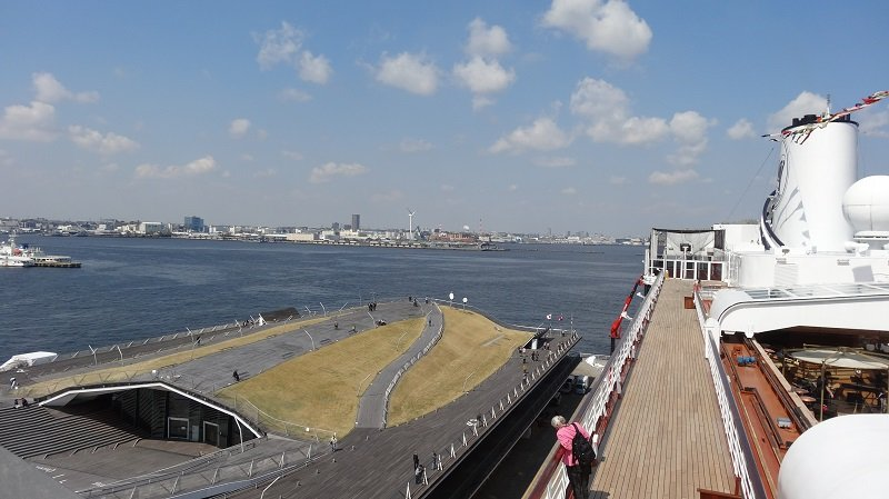On the top deck of the Volendam at Yokohama Cruise Port