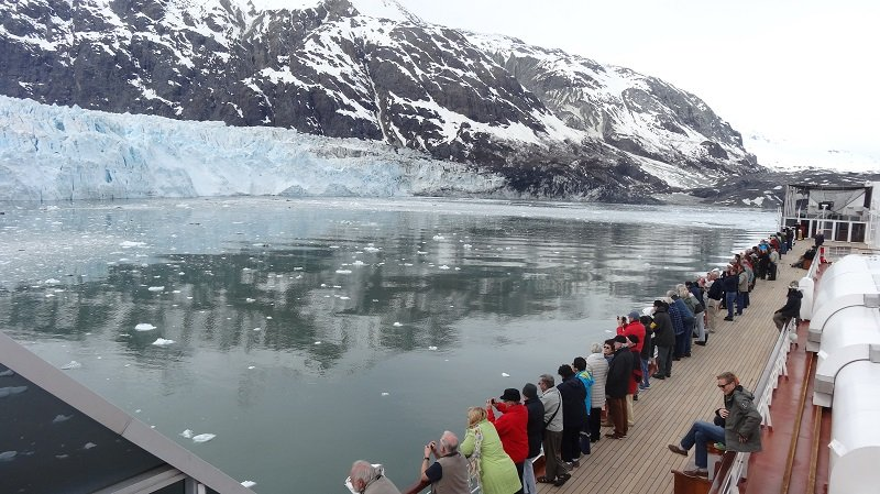 Admiring the Margerie Glacier from the Volendam